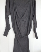 Szara sukienka tunika XL 42 L 40 wełniana wełna sweter wiskoza ...