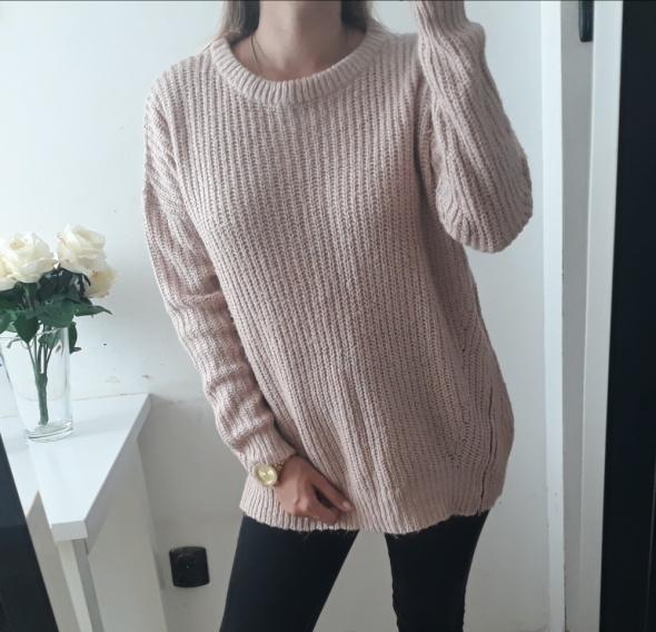 Papaya sweter pudrowy róż luźny L