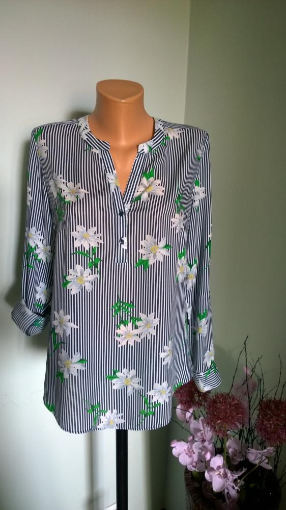 bluzka paski kwiaty