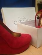 Catwalk nowe czerwone koturny zamsz...