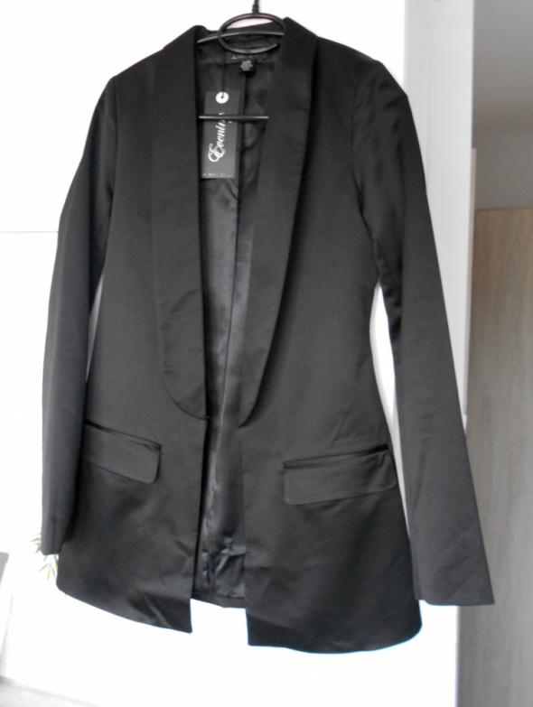 Amisu nowa smokingowa czarna marynarka elegancka klapy satynowa