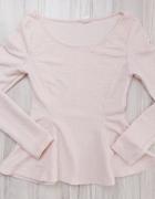 Pudrowy róż bluzka z baskinką długi rękaw H&M xs s...