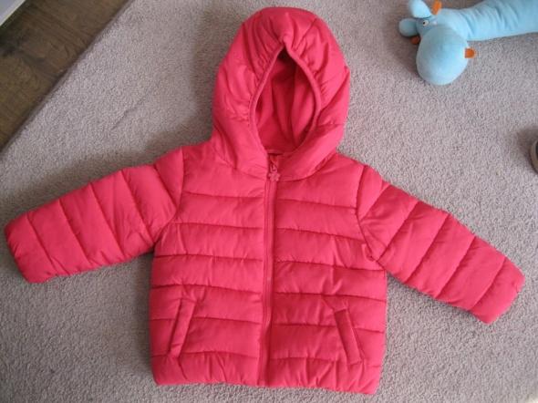 kurtka pikowana 74 F&F baby różowa gratis czapka