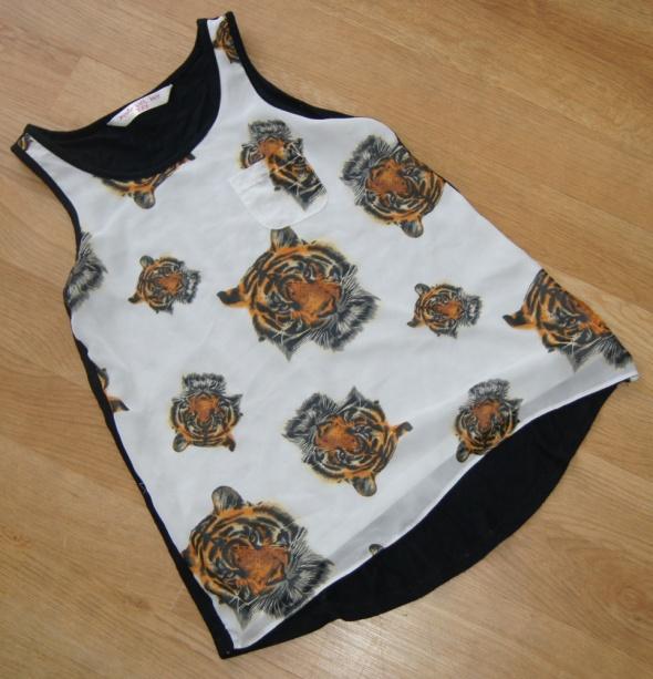 Bluzka dziewczynka tygrysy cudeńko dłuższy tył 122