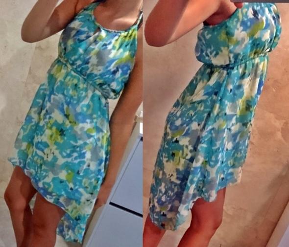 Asymetryczna sukienka wiązana lato S mgiełka...