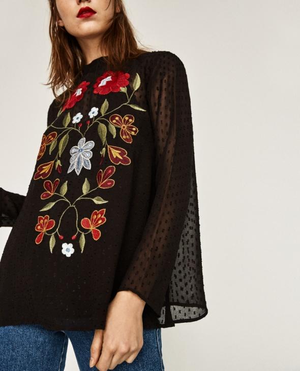 Nowa bluzka z tkaniny plumeti z haftem ZARA XS