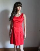 Czerwona koktajlowa sukienka na ramiączkach r L...