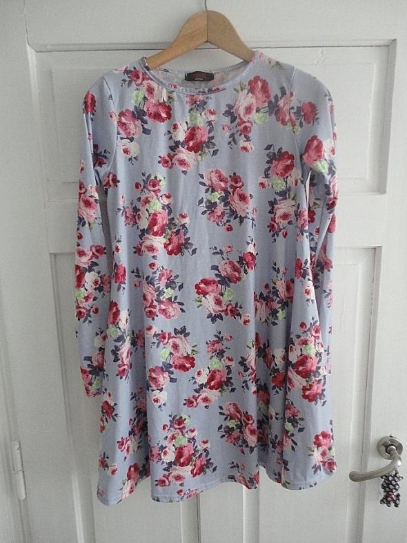 Oversize sukienka floral XS S M