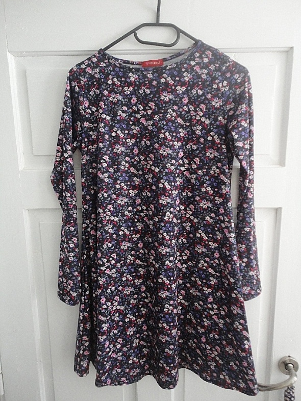 sukienka oversize floral etno boho XS S M