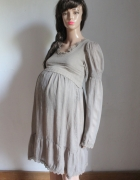Beżowa sukienka w stylu vintage długi rękawek idealna na ciążę ...