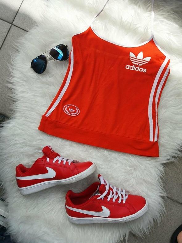 bluzka top Adidas czerowna r Xs S
