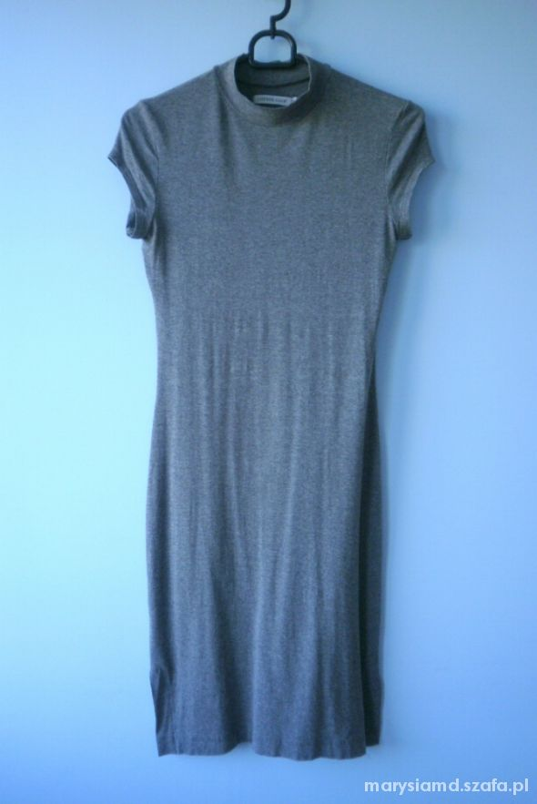 Cotton Club dopasowana sukienka szara obcisła midi...