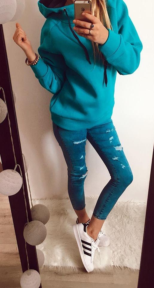 Bluza Damska niebieska ciepła L