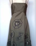Rozkloszowana midi sukienka haft kwiaty tiul Teatro...