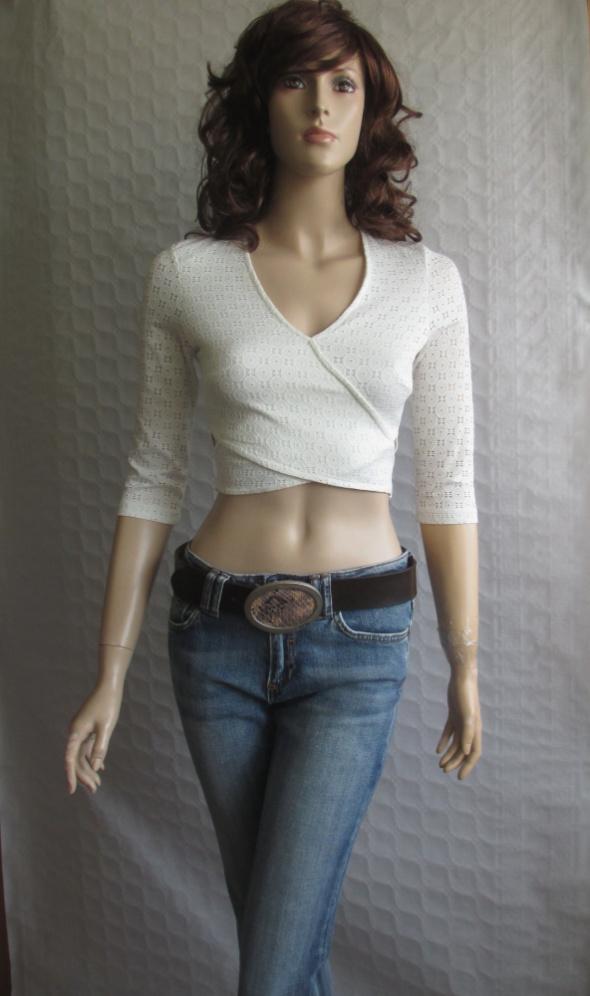 Gina Tricot kremowa bluzka ażurowa 34...
