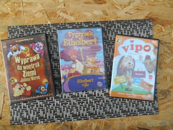 3 Bajki na DVD Vipo Tygrysek Ethelbert Wyprawa do wnętrza Zie