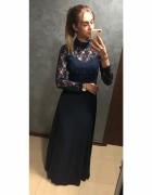 NOWA Sukienka maxi suknia długa koronkowa John Zack Petite odkr...