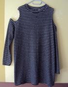 dzianinowa sukienka tunika z odkrytymi ramionami...