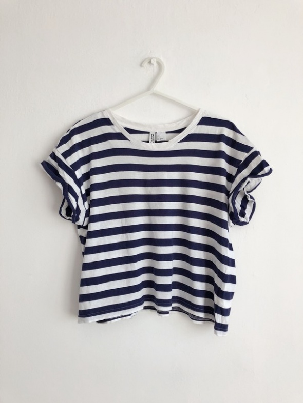 H&M tshirt w biało granatowe paski marynarski minimal basic
