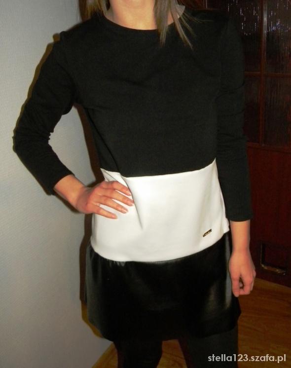 Sukienka Tunika biało czarnadodatki skórzane