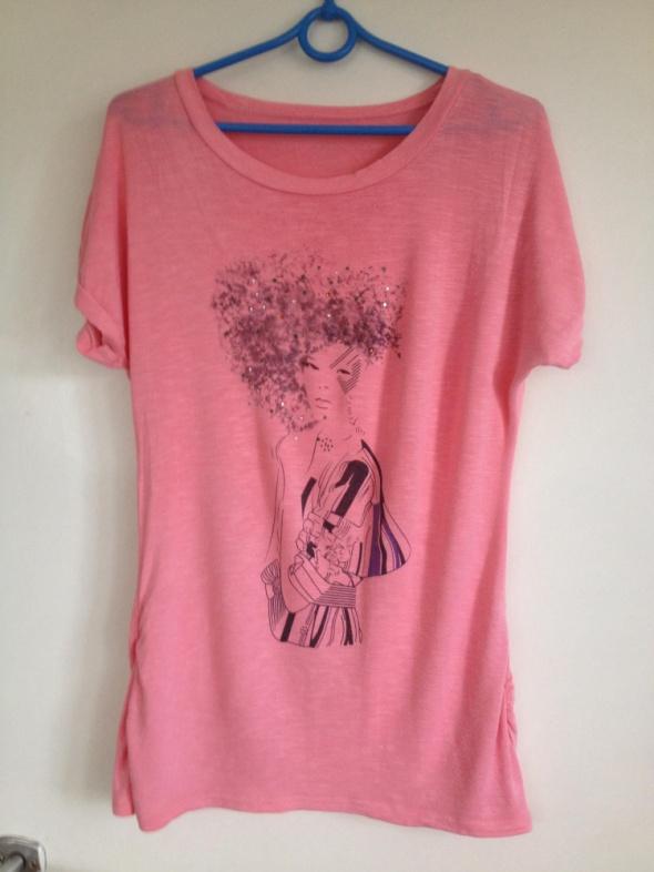Różowa bluzka z nadrukiem kobiety elastyczna XS S M 43 36 38 6 8 10 używana pastelowy róż