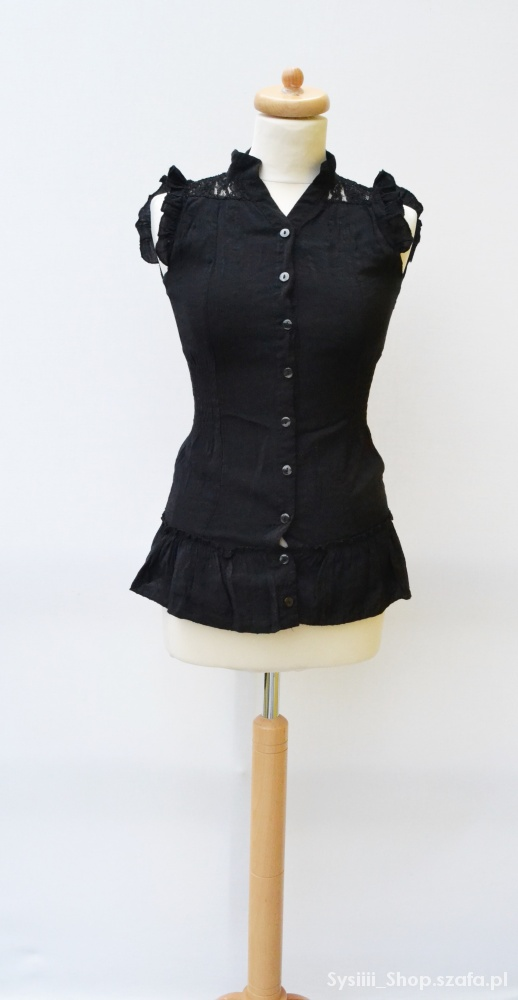 Koszula Czarna Baskinka Koronka S 36 Elegancka