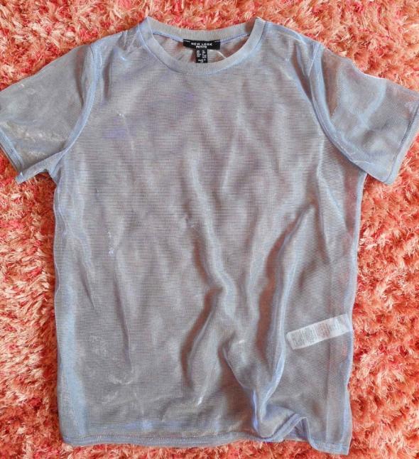 Holograficzny t shirt siateczka