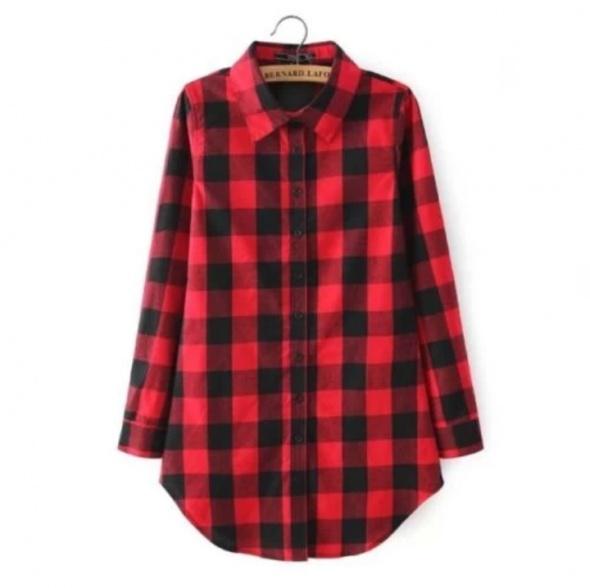Koszula w kratę czarno czerwoną