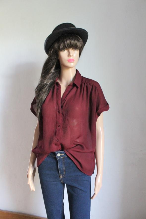 Bordowa koszula na krótki rękawek mgiełka r L