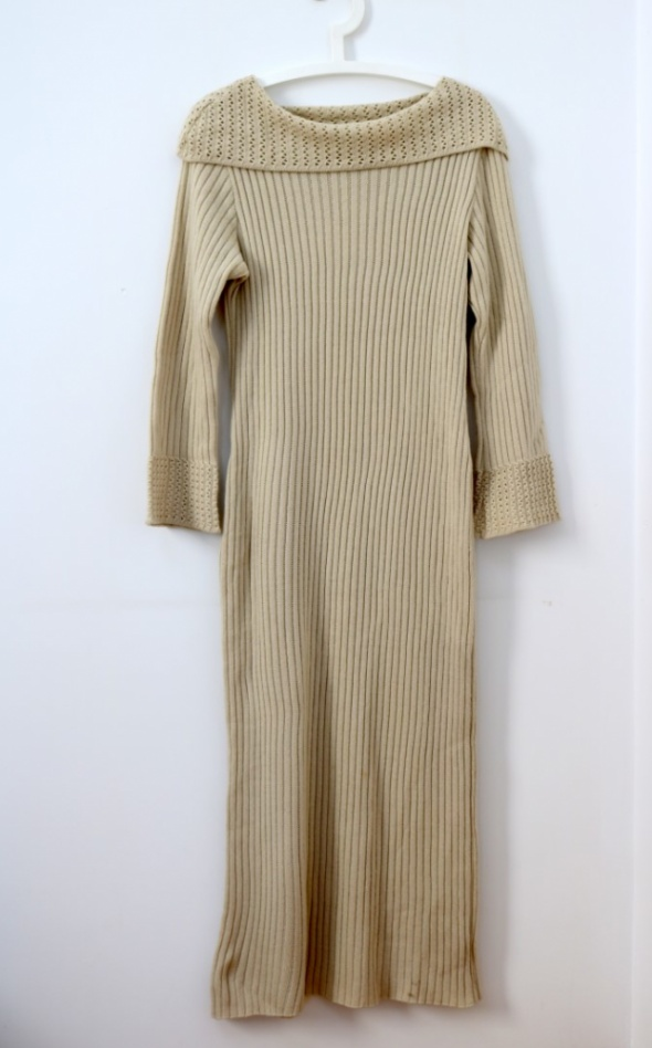Dzianinowa sukienka sweter maxi Vintage L XL