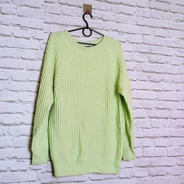 Śliczny limonkowy sweterek miły w dotyku sploty Atmosphere