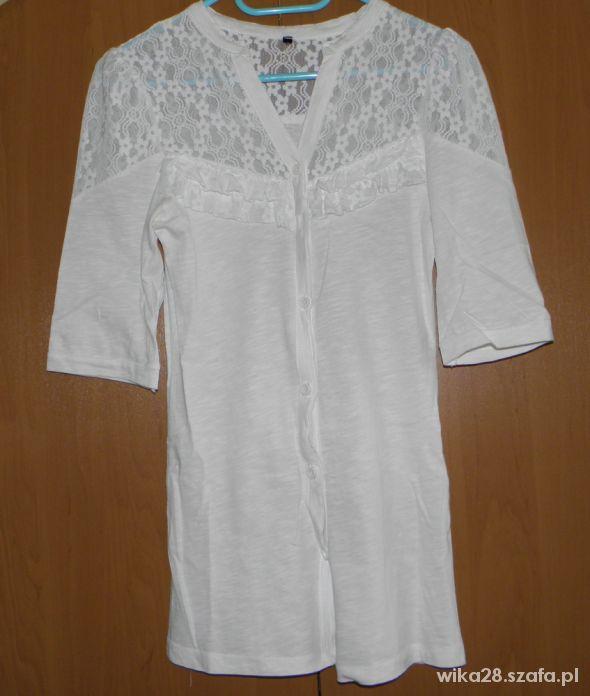 biała koszula bershkabawełna koronka 36