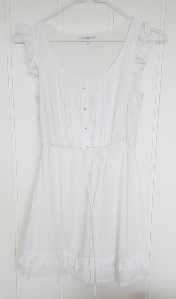 Biała sukienka Cache Cache 160 XS 34 dziewczęca boho natural...