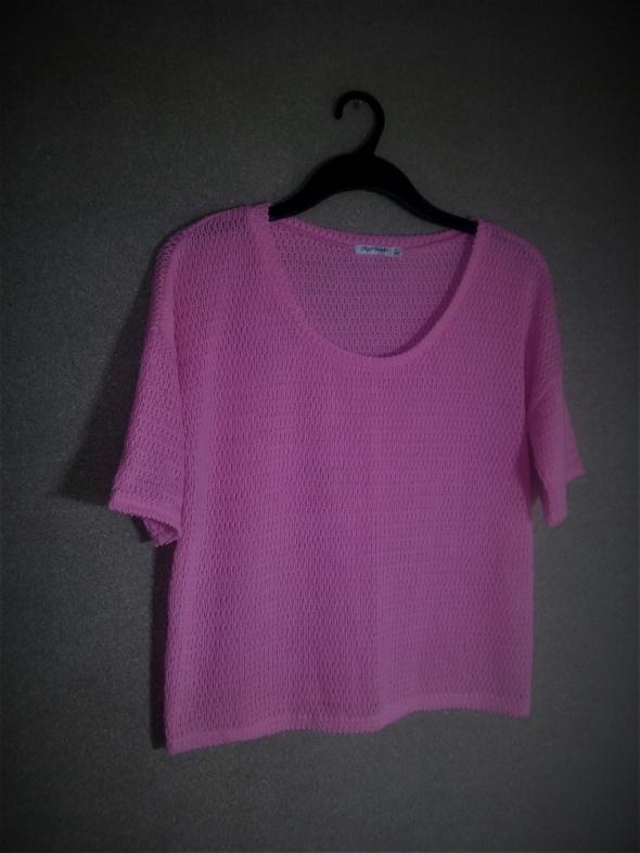 Różowa dzianinowa bluzka oversize 42 44 w Bluzki Szafa.pl