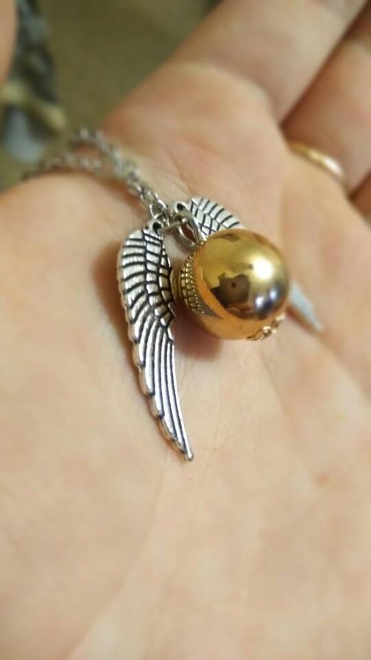 Łańcuszek Złoty Znicz z Harrego Pottera