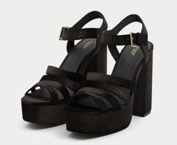 szpilki buty na słupku pull&bear 38 czarne brokatowe sandałki wysokie aksamitne platformy 12 cm