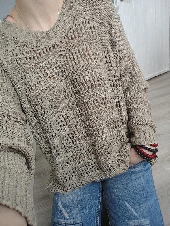 kawowy luźny oversize sweter azurek hot S M L...