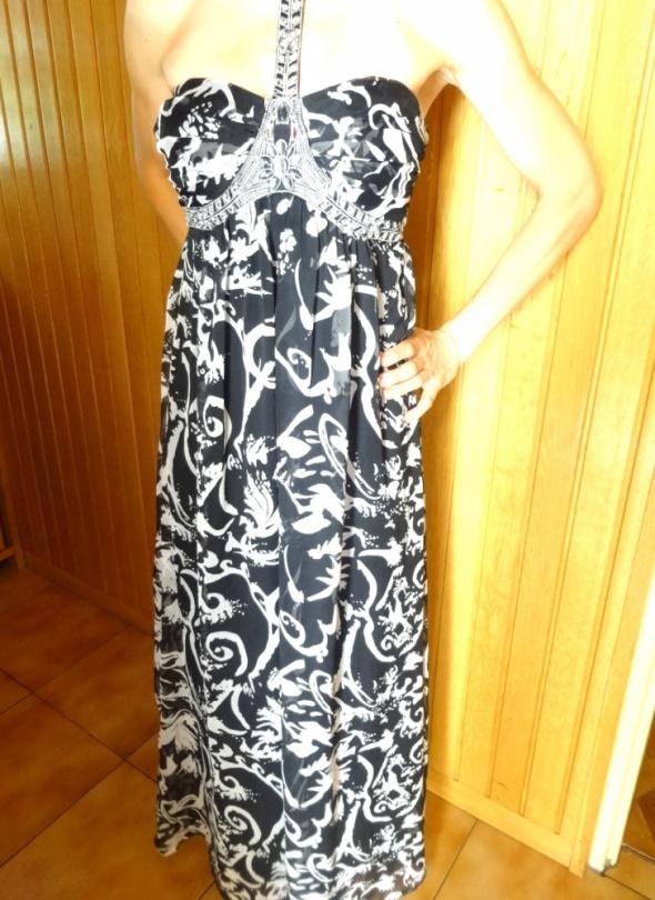 elegancka sukienka maxi czarna szara s 36 koraliki...