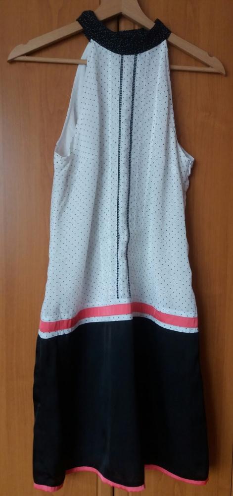 Sukienka Promod 36 czarna biała kropeczki koral no...