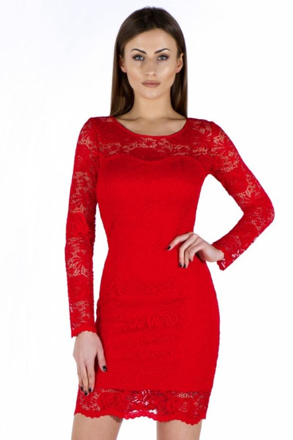 cf90ad329e SUKIENKA koronkowa długi rękaw XXL 44 CZERWONA w Suknie i sukienki ...
