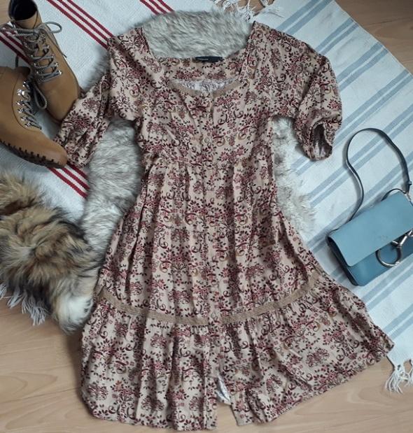 boho sukienka midi S M 38 36 vintage
