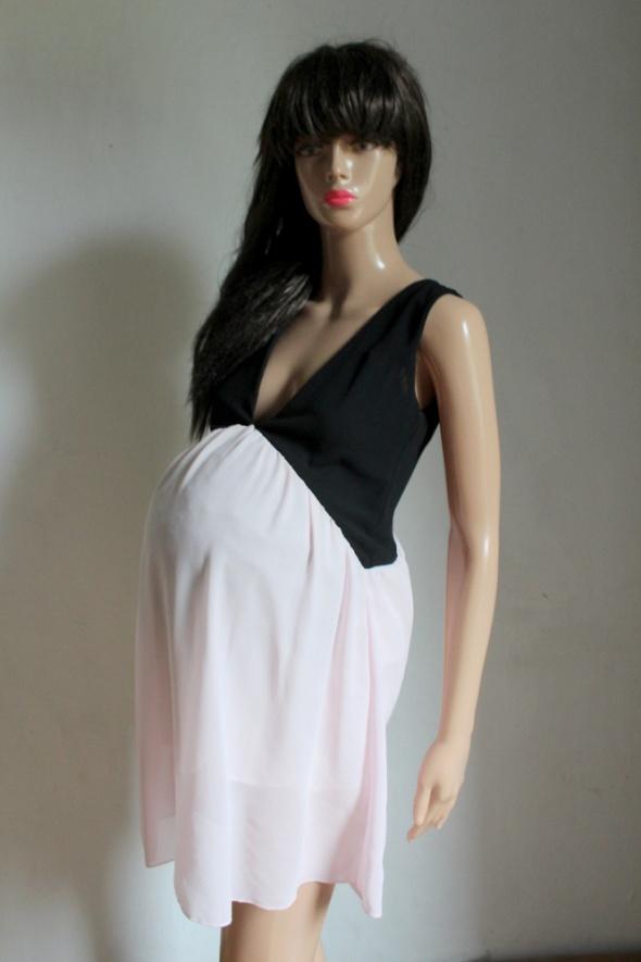 Zwiewna sukienka czarno różowa idealna na ciążę r około S M...
