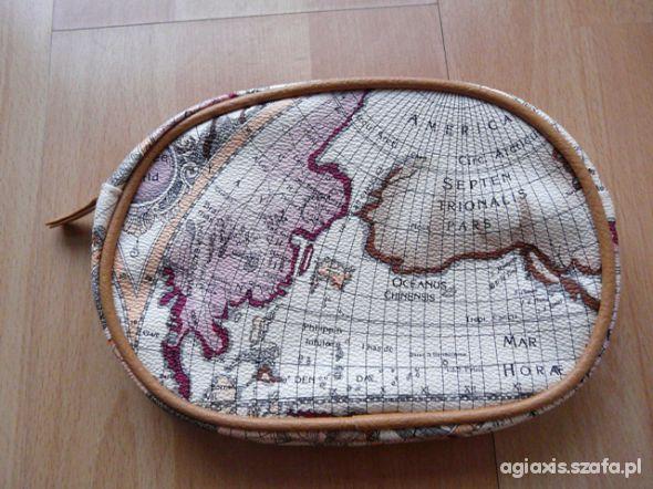 Śliczna kosmetyczka perłowa z mapą świata nowa