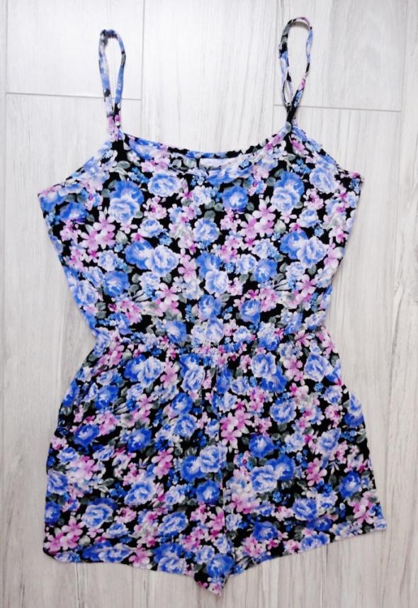 Krótki niebieski kombinezon floral kwiaty Forever 21 xs s...