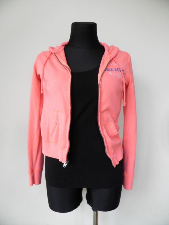 Różowa brzoskwiniowa bluza Hollister z kapturem dr...