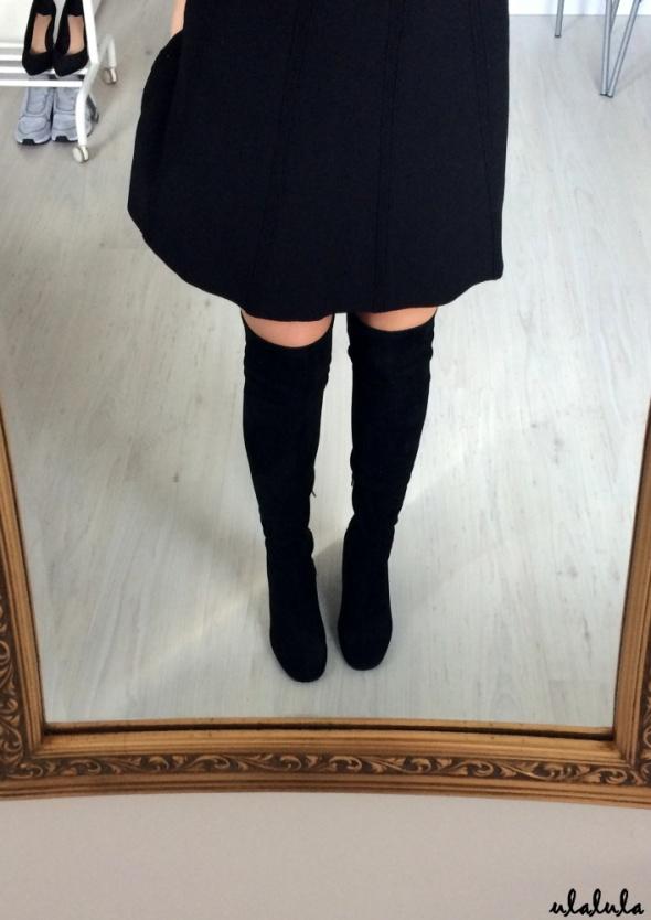 Seastar satynowe kozaki za kolano na słupku satin classy elegant chic tumblr