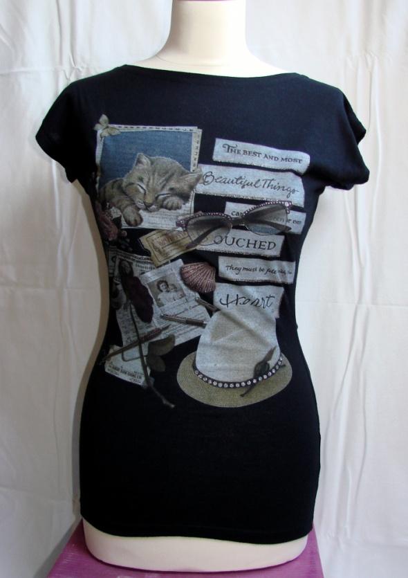 Czarna koszulka z nadrukiem retro vintge kot kotek