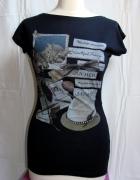 Czarna koszulka z nadrukiem retro vintge kot kotek...