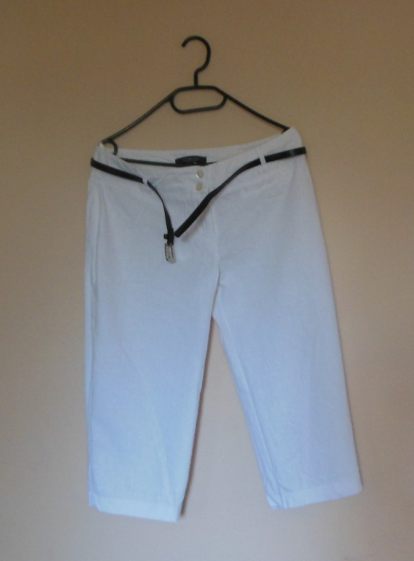 Debenhams białe spodnie rybaczki len 40...