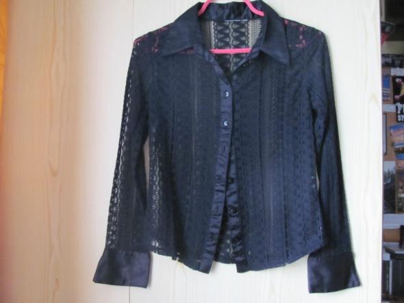 Koszula z kołnierzem koronkowa elegancka czarna
